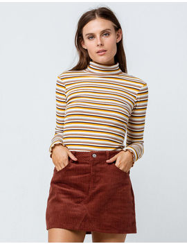 Sky And Sparrow Ribbed Stripe Mustard Womens Turtleneck Top by Sky And Sparrow