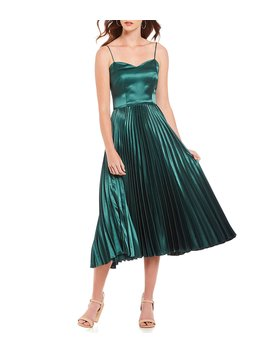 Romee Sweetheart Neck Spaghetti Strap Satin Pleated Midi Dress by Gianni Bini