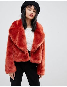 Lost Ink Petite Cropped Jacket In Faux Fur by Lost Ink.
