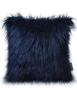 "Phantoscope Decorative New Luxury Series Merino Style Navy Blue Faux Fur Throw Pillow Case Cushion Cover 18"" X 18"" 45cm X 45cm by Phantoscope"