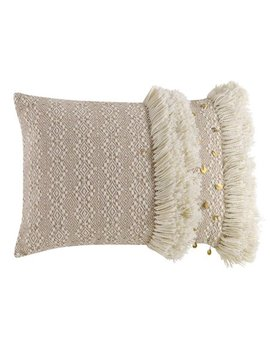 """Better Homes & Gardens Handcrafted Lattice Stripe Fringe Decorative Throw Pillow, 14""""X20"""", Ivory by Better Homes & Gardens"""
