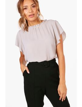 Woven Frill Sleeve And Neck Blouse by Boohoo