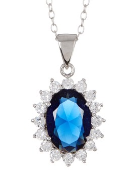 Sterling Silver Simulated Sapphire Blue Cz Necklace by Sterling Forever