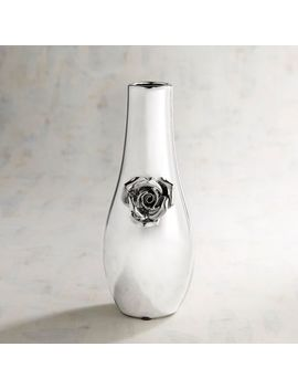 Silver Bud Vase With Flower by Pier1 Imports
