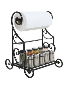 Freestanding Black Metal Kitchen & Bathroom Paper Towel Holder Stand / Counte... by Ebay Seller