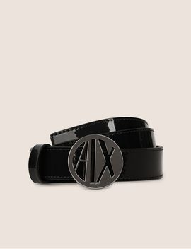 Patent Circle Logo Buckle Belt by Armani Exchange
