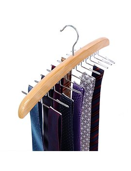 Ohuhu Wooden Tie Rack Hangers Rotating Twirl 24 Tie Organizer Rack Hanger Holder Hook by Ohuhu