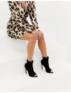 Boohoo Stiletto Open Toe Sock Boots In Black by Boohoo