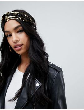 Missguided Sequin Knot Headband In Gold by Missguided