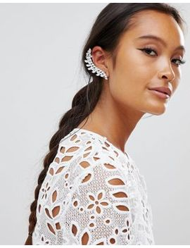 True Decadence Silver Rhinestone Ear Cuff Climber by True Decadence