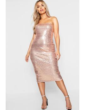Plus Bandeau Midi Dress by Boohoo