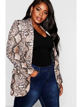 Plus Snakeskin Tailored Blazer by Boohoo