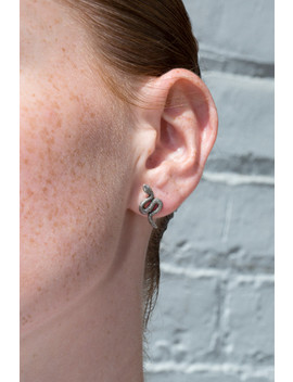 Silver Snake Stud Earrings by Brandy Melville