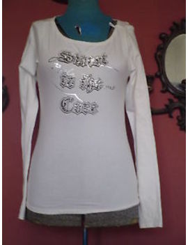 Petites Apple Bottom  Size Sp White Ls Stretch Embellished Graphic T Shirt Euc by Apple Bottoms