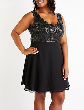 Plus Size Sequins Skater Dress by Charlotte Russe
