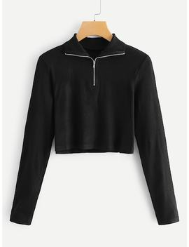 Quarter Zip Front Crop Tee by Sheinside