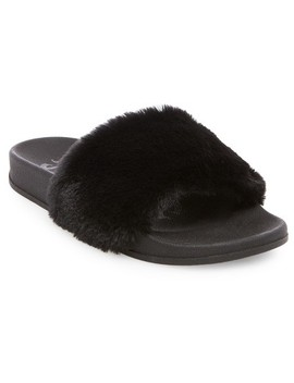 Women's Mad Love® Phoebe Faux Fur Slide Sandals   Black 6 by Mad Love