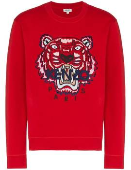 Red Tiger Embroidered Cotton Sweatshirt by Kenzo
