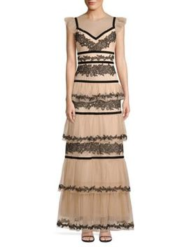 Long Lace Tiered Dress by Bcbgmaxazria