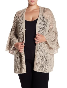 Open Knit Bell Sleeve Cardigan (Plus Size) by Susina