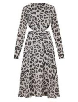 Grey Leopard Print Long Sleeve Cut Out Midi Dress by Prettylittlething
