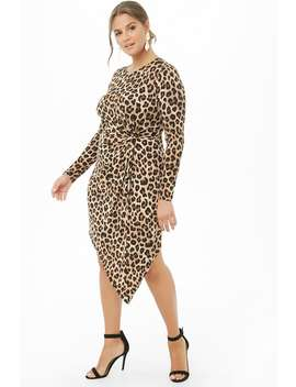 Plus Size Asymmetrical Leopard Print Twist Waist Dress by Forever 21