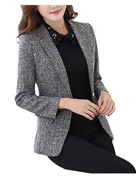 M Frannie Womens Cotton & Linen Tweed Blazer One Button Office Work Jacket by M Frannie