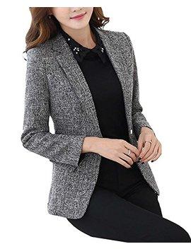 M Frannie Womens Cotton & Linen Tweed Blazer One Button Office Work Jacket by M Frannie