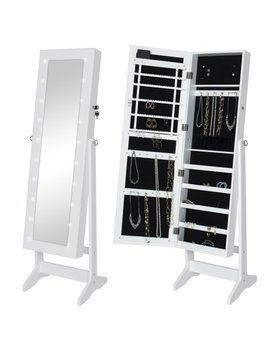 Best Choice Products Led Lighted Mirrored Jewelry Cabinet Armoire W/ Stand  White by Best Choice Products