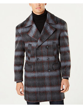 I.N.C. Men's Grunge Plaid Topcoat, Created For Macy's by Inc International Concepts