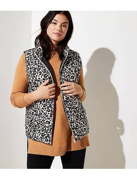 Loft Plus Leopard Print Puffer Vest by Loft