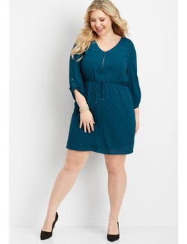 Plus Size Zipper Neck Patterned Dress by Maurices