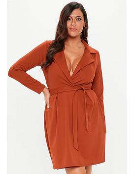 Plus Size Rust Tie Waist Collar Shift Dress by Missguided