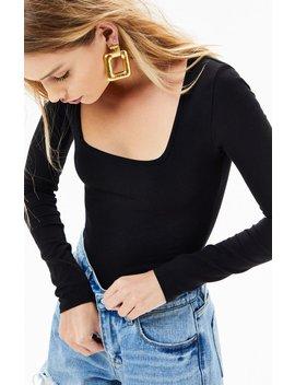 La Hearts Square Neck Long Sleeve Bodysuit by Pacsun