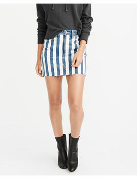 Striped Denim Mini Skirt by Abercrombie & Fitch