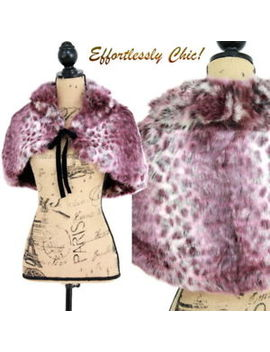 Bebe Leopard Faux Fur Capelet Shrug Bolero Jacket Cape Pretty Purple ! by Bebe