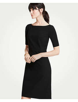 Petite Seasonless Stretch Elbow Sleeve Sheath Dress by Ann Taylor