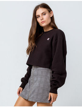 Champion Reverse Weave Black Womens Crop Sweatshirt by Champion