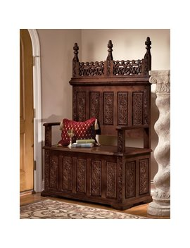 Design Toscano York Monastery Hardwood Storage Bench & Reviews by Design Toscano