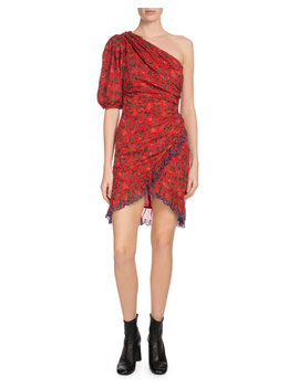 Esther One Shoulder Floral Eyelet Trim Dress by Etoile Isabel Marant