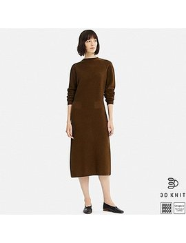 Women U 3 D Wool Mock Neck Long Sleeve Dress by Uniqlo