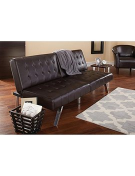 Quick 3 In 1 (Sofa, Lounger, Sleeper) Morgan Faux Leather Upholstery Brown Tufted Convertible Futon by Quick
