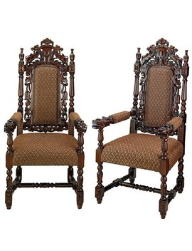Design Toscano Grand Occasion Hand Carved Heraldic Armchair by Design Toscano