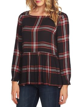 Plaid Peplum Blouse by Cece