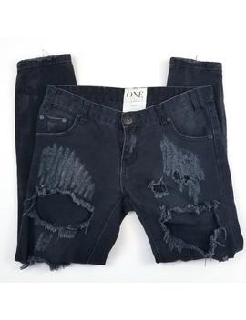 One Teaspoon Black Distressed Jeans 25 Waist by One Teaspoon