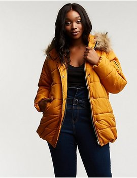 Plus Size Longline Hooded Puffer Jacket by Charlotte Russe