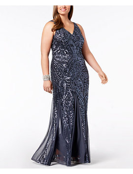 Plus Size Sequined Mesh Gown by Nightway