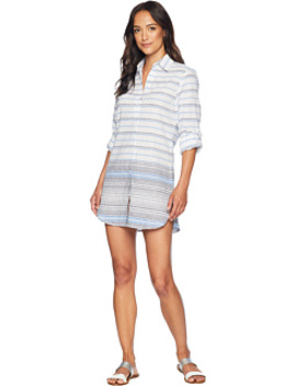 Linencotton Boyfriend Shirt Hem Cover Up by Tommy Bahama