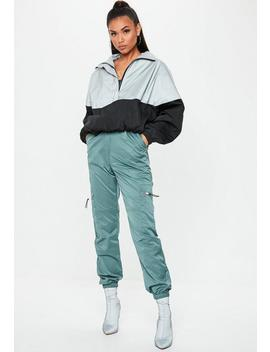 Teal Shell Suit Cargo Trousers by Missguided