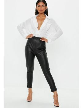 Black Side Zip Faux Leather Trousers by Missguided